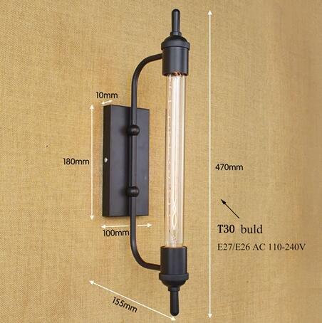 6 Vanity Bar Licht (HNZZN Vintage antike retro schwarz eisen rohr wandleuchte E27 für flur bad bar Vanity night Lichter/leuchte wandleuchte schlafzimmer hotel, B66 schwarz)