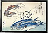 1art1 94022 Utagawa Hiroshige - Makrelen und Garnelen, 1834-35 Fußmatte Türmatte 60 x 40 cm