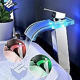 GLHLPR LED Wasserhahn Wasserfall Led Glass Waschtischarmatur mit RGB 3 Farbewechsel Beleuchtung Bad...