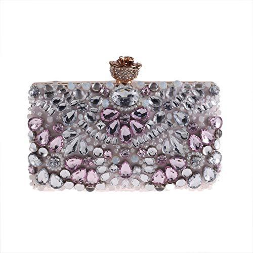 Perlen Bestickte Abendtasche (LCHENGJIN Damen Clutchs Perlen Bestickte Kette Joker Abendtasche Pink Geeignet für Nachtclubs, Tanzpartys, Partys, Hochzeiten)