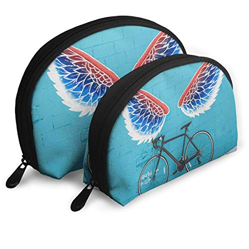Black Road and Bike Wing Graffiti Wall Shell Portable Bags Clutch Pouch Cosmetic Makeup Bag Pouch 2Pcs - Road-bike Womens