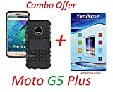 YuniKase (COMBO OFFER) for Motorola Moto G5 Plus / Moto G5 Plus - - Grade Armor Defender Kick Stand Back Cover Case (Black) + Premium Screen Guard Tempered Glass Protector - - ( Transparent )