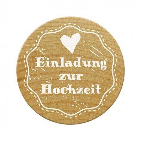 Woodies Stempel Einladung Zur Hochzeit, Holz, 3,4 X 3,4 X 3,5 Cm