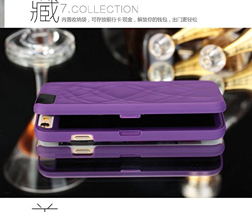 Vandot 2 in1 Exklusive Kreativ Make Up Mirror Spiegel Hülle Für iPhone 6 6S 4.7 Zoll Book Karte Card Slot Wallet Flip Fit Ultra Thin Dünn PU Leder Buch Muster Pattern Hart Hard Protektiv Case Skin Bac Mirror Purple