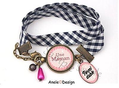 Bracelet liberty vichy Une Maman Formidable - Cadeau pour la Fêtes des Mères cabochon rose noir dentelle.