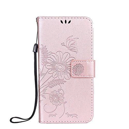 Premium PU Leder Folio Stand Case, Solid Farbe prägeartig Blumen Stil Schutzhülle Tasche Tasche mit Lanyard & Card Slots für Xiaomi Hongmi Redmi 3S & 3X & 3 Pro ( Color : Modena ) Rose gold