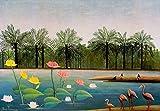 Kunstdruck/Poster: Henri J.F. Rousseau Les Flamants - hochwertiger Druck, Bild, Kunstposter, 55x40 cm