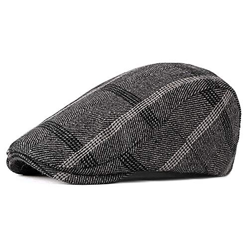 Money dock Unisex verstellbare Filz Flat Cap Herringbone Tweed Zeitungsjunge Plaid Gatsby Vintage Duckbill Irish Cap` (Color : 2, Size : Free Size) Herringbone Tweed Cap