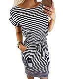 Ajpguot Damen Freizeit Kleid mit Gürtel Elegant Rundhals Midi Kleider Blusenkleider Ballkleid Festkleid Frauen Langarm Tasche Wickelkleider Abendkleider Partykleid (3XL, Schwarz 2)