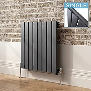 iBathUK | 600 x 604 mm Horizontal Radiator Anthracite Single Flat Panel Heater