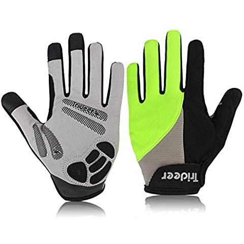 Trideer® Cycling Cycle Gloves/Biking Bike Glove, specialized performance mountain bike road riding fitness bodybuilding exercise light glove, Half finger(fingerless) microfiber lycra material&silica gel grip glove with wrist&strap support, for men&women/ladies/female(Black+Green) (Full finger-Green, S)