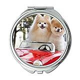 Yanteng Spiegel, Schminkspiegel, Tiere Katze Kitten Hund Golden Husky Hund, Taschenspiegel, 1 X 2X Vergrößerung