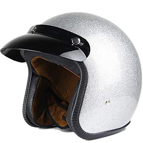 PQ&D Motorrad Kollision offenes Gesicht Helm, Persönlichkeit Jet Open Typ Impact Chopper Cruiser Off-Road Half Helm - DOT Zertifizierung,White,XXL