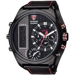 DETOMASO Palermo Men's Quartz Watch with Black Dial Analogue - Digital Display and Black Leather Bracelet Dt2052-A
