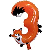 Soul-Cats® 1 Stück Folienballon Zahl Tiermotive Geburtstag Kindergeburtstag Kinder Zahlen Ballon , Modell:Modell 3