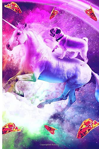 1bc17d75db Rainbow Space Pug Riding On Flying Unicorn With Taco Journal Notebook