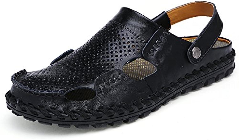 Bluelover Leder Hollow Herren Sandalen Pantoffeln Sommer Casual Strand Leichtes Gewicht Weich Atmungsaktiv Haltbar