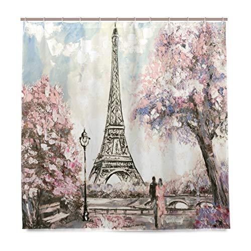 Wamika Eiffelturm und Blumen Badezimmer Dusche Vorhang Liner, Design Haltbarer Stoff Schimmelresistent Wasserdicht Bad Badewanne Vorhänge mit 12Haken 183,0cm x183,0cm