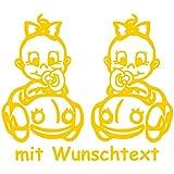 XL Babyaufkleber für Zwillinge mit Wunschtext - Motiv Z36-MM (25 cm)