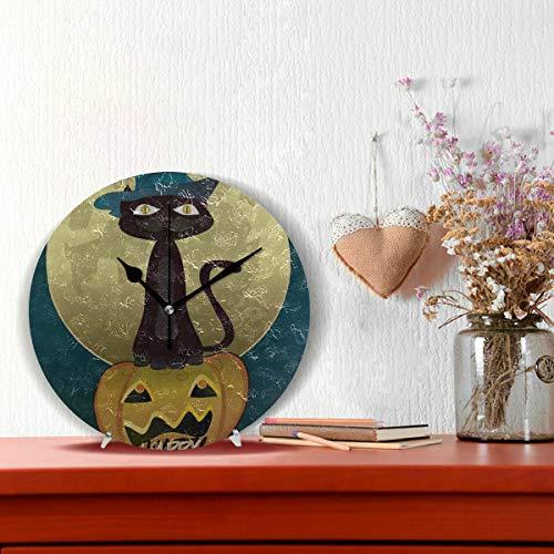 r Schwarze Katze Hexen Für Halloween Nicht tickt Runde Stille Diamant Display Wanduhren Malerei Zifferblatt Küche Schlafzimmer Dekor Wanduhr Dekorative Wohnzimmer ()