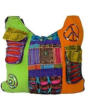 Damen Hippie-Stil Umhängetasche lang mehrfarbig