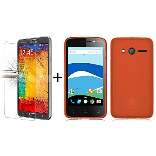 tbocr-pack-red-tpu-silicone-gel-case-tempered-glass-screen-protector-for-alcatel-pixi-4-4-40-inches-