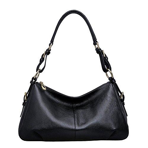 Leder Tasche Hobo (Kattee Damen Leder Hobo Tasche Schulterbeutel Handtasche Schwarz)