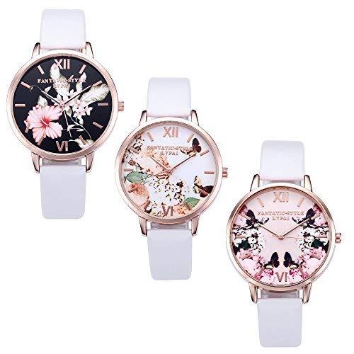 Jsdde Set di 3 orologi da polso analogico al quarzo, da donna, vintage, oro rosa, a fiori, stile...