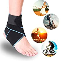 Giwil Ankle Support, Adjustable Ankle Brace Breathable Nylon Material Super Elastic and Comfortable One Size Fits all, Perfect for Sports, Protects Against Chronic Ankle Strain, Sprains Fatigue etc