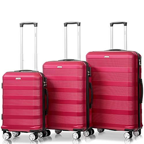 Flieks Reisekoffer Kofferset Hartschale 4 Zwillingsrollen Trolleys Gepäck Koffer 3tlg. (Weinrot, Set)