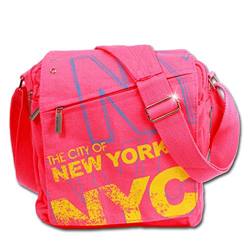 New York City Bag (DrachenLeder Robin Ruth NEW YORK City Umhängetasche pink mehrfarbig matt Canvas OTG201P)