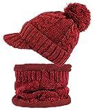 dy_mode Damen Mütze und Schal Kombi Set Schirmmütze Bommel mit Innenfutter - A305 (A305-Rot/Weinrot)