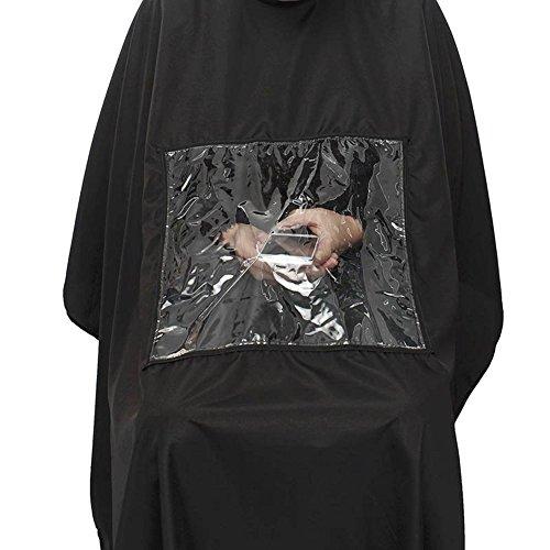 Hrph Blouse de Salon de Coiffure Cape Robe Peignoir Coupe Cheveux Coiffeurs Coloration Professionnel Etanche Noir Avec Fenêtre Transparent Pour Téléphone Couleur Aléatoire