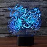 3d efecto lámpara motocicleta LED Luz nocturna 7Color Cambiante Lámpara de mesa para niños de dormir Nightlights