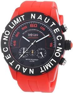 Nautec No Limit ZY2-H1 QZ/PCPCBKBK-RD - Reloj cronógrafo de cuarzo para hombre con correa de plástico, color rojo de Nautec No Limit