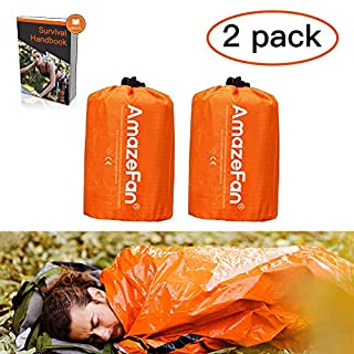 AmazeFan Emergency Sleeping Bag, Survival Sleeping Bag PE Aluminum Film, Lightweight Waterproof Thermal Bivvy Bag Emergency Blanket Bushcraft for Outdoor Camping and Hiking