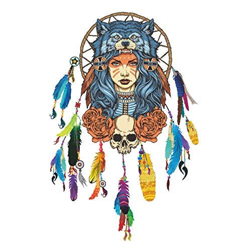 Wandkunst Aufkleber, Qewmsg bunte indische Wolf Kopfschmuck voller Farbe Mädchen einzigartige entfernbare ()