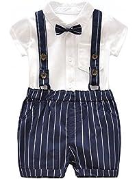 Ding-dong Bébé Garçon Eté Coton Gentleman Nœud Papillon Combinaison + Rayé Salopette Costume