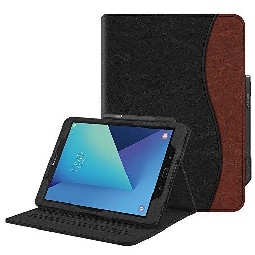 Fintie Hülle für Samsung Galaxy Tab S3 T820 / T825 (9,68 Zoll) Tablet - Multi-Winkel Betrachtung Kunstleder Schutzhülle Case Cover mit Dokumentschlitze und Auto Schlaf/Wach Funktion, Doppelfarbig