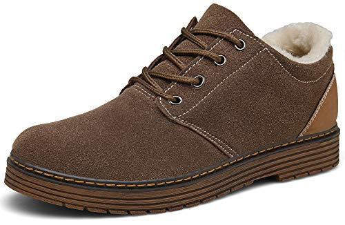 DENGBOSN Winterschuhe Herren Damen Winterstiefel Wildleder Warm Gefütterte Klassische Kurz Stiefel,XZ890-Brown-EU39 -