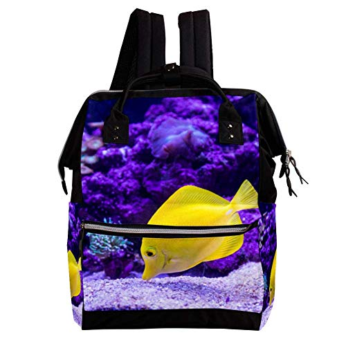 Tropischer Fisch Rucksack Große Kapazität Mehrfach Umhängetasche Laptop Bookbag Reiserucksack Dual Use Handtasche Schultasche Für Mann Frauen Kinder 27x19.8x36.5cm (Tropische Fische Hat)
