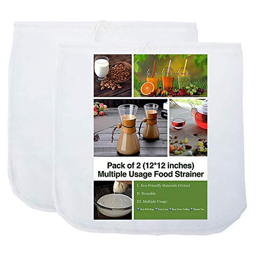 iAesthete 2 Pack Nut Milk Bag 12X12 Inches Multiple Usage Reusable Food Strainer, Cold Brew Coffee Bag Cheesecloth, Food Grade Nylon Mesh, Filter for Almond/Soy Milk, Fruit Juice, Coffee and Tea