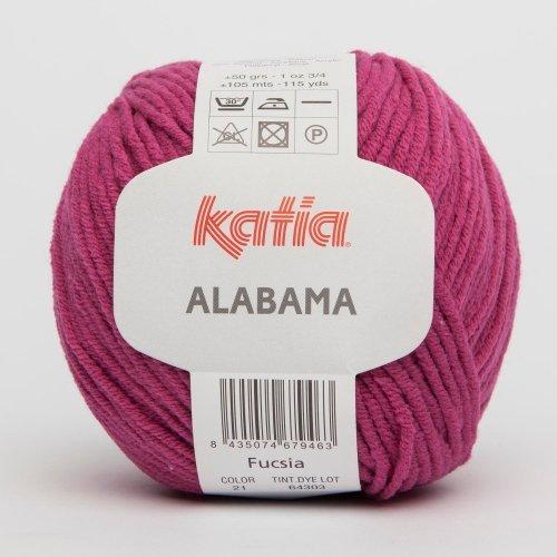 Katia Alabama, 50g, Wolle mit Polyacryl, Farbe: Nr.21 Fucsia, pink, stricken oder häkeln