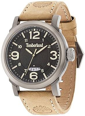 Timberland Berkshire Hombre Reloj de cuarzo con Negro esfera analógica pantalla y correa de piel color marrón 14815jsu/02 de Timberland
