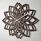 30cm natural Walnut modern wall clock bedroom living room fashion Lotus Flower wall decoration , a£¬Wall decorations, home decor