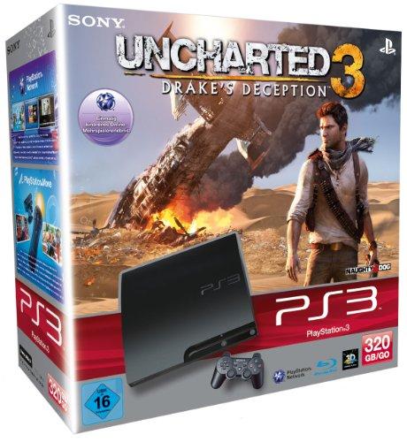 PlayStation 3 - Konsole Slim Black 320GB + Uncharted 3