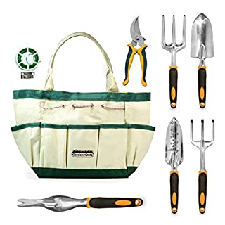 GardenHOME 8-teiliges Set - 5 robuste Werkzeuge aus Aluminiumguss mit ergonomischen Griffen, praktische Garten-Aufbewahrungstasche, eine Gartenschere und eine Rolle Pflanzenbinden (HG1915)