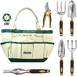 GardenHOME 8-teiliges Set – 5 Robuste Werkzeuge aus Aluminiumguss mit ergonomischen Griffen, praktische Garten-Aufbewahrungstasche, eine Gartenschere und eine Rolle Pflanzenbinden (HG1915)