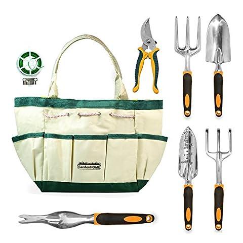 GardenHOME 8 Piece Garden Tool Set - 5 Heavy Duty Cast-Aluminium Tools with Ergonomic Handles, (Strumenti Filo)
