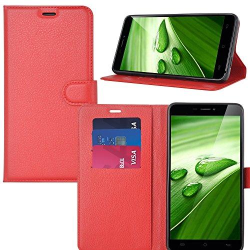 Asus Zenfone 4 ZE554KL Custodia - KuGi Lussuosa PU Cover Custodia Protettiva Portafoglio da Mano per Asus Zenfone 4 ZE554KL Smartphone (Rosso)